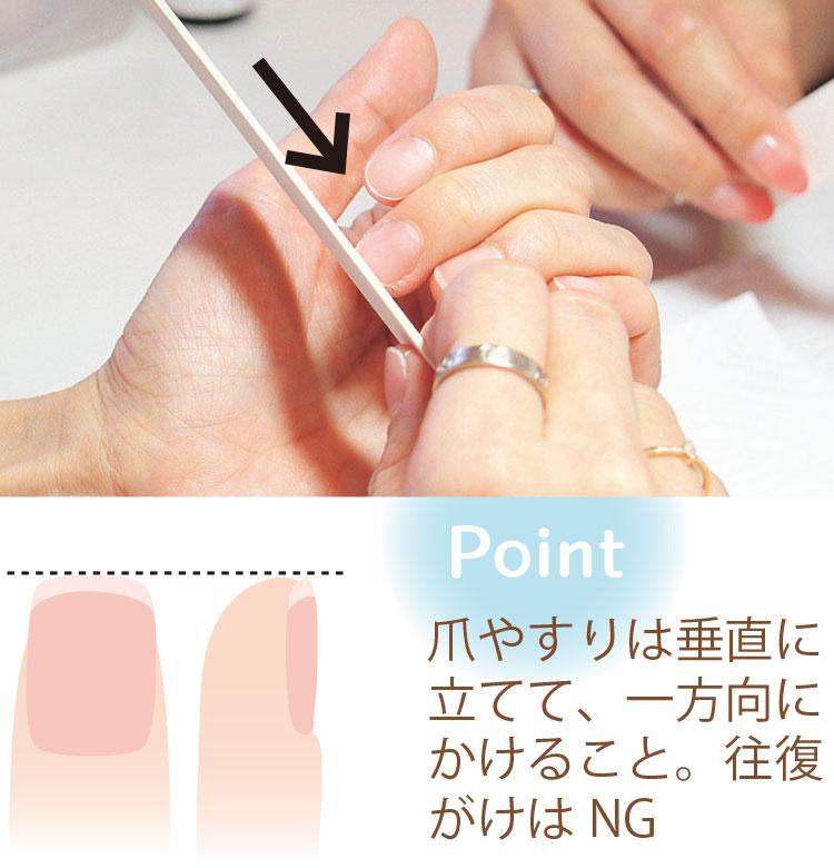 Point 爪やすりは垂直に立てて、一方向にかけること。往復がけはNG
