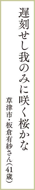 遅刻せし我のみに咲く桜かな 草津市・板倉有紗さん(41歳)